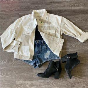 NWT Calvin Klein white/khaki jean jacket